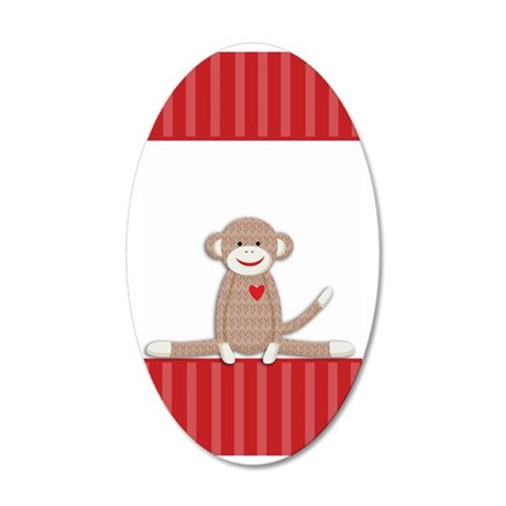 Sock Monkey 3G iphone case 35x21 Oval Wall Decal