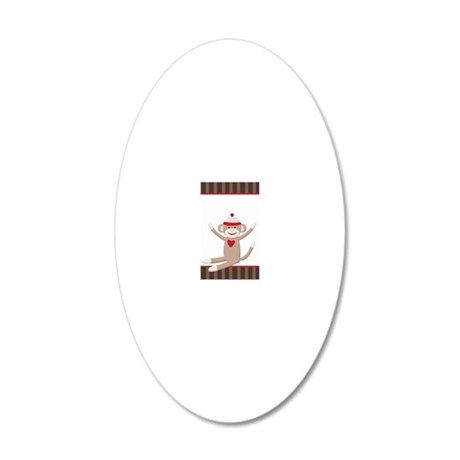 Sock Monkey case 20x12 Oval Wall Decal