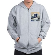 great_wave_flip_flops Zip Hoodie