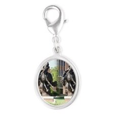 new horse logo -- statue Silver Oval Charm