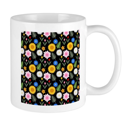 Bright Floral Pattern on Black. Mugs