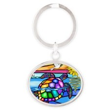 Sea Turtle 8 - square Oval Keychain