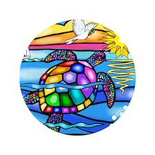 """Sea Turtle 8 - square 3.5"""" Button"""