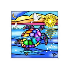 "Sea Turtle 8 - square Square Sticker 3"" x 3"""