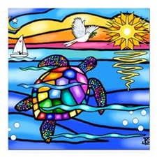 "SeaTurtle 8 - MP Square Car Magnet 3"" x 3"""