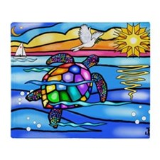 SeaTurtle8 - with dove Throw Blanket
