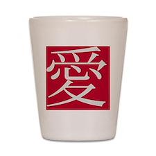 11x11_pillow LOVE blanc sur rouge Shot Glass