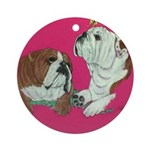 English Bulldog Pair Ornament (Round)