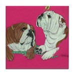 English Bulldog Pair Tile Coaster