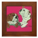 English Bulldog Pair Framed Tile