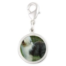 Old English Sheepdog 9F054D-17 Silver Round Charm