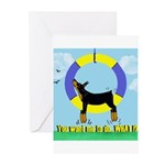 Agility Doberman Pinscher Greeting Cards (Package