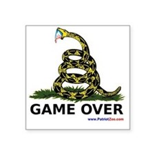 "GameOverwhiteXLargewww Square Sticker 3"" x 3"""