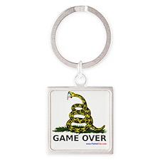GameOverwhiteXLargewww Square Keychain