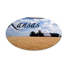 kansasMap28 Oval Car Magnet