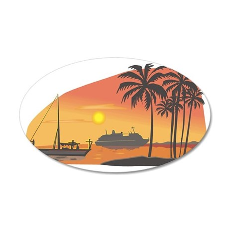 boats palm trees sunset 35x21 Oval Wall Decal