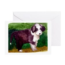 Bearded Collie Puppy Greeting Cards