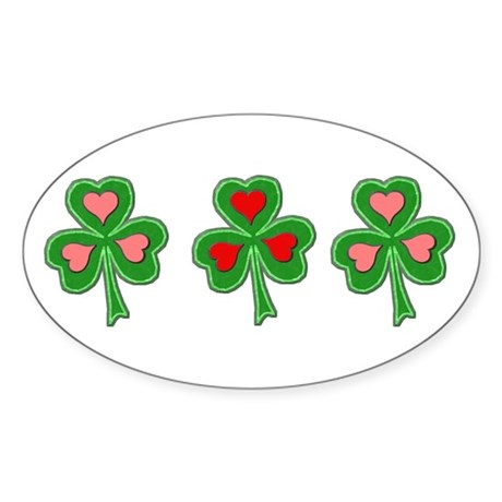 Shamrocks (Pink and Red Hearts) Oval Sticker