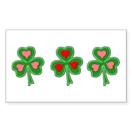 Shamrocks (Pink and Red Hearts) Sticker (Rectangul