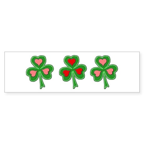 Shamrocks (Pink and Red Hearts) Bumper Sticker