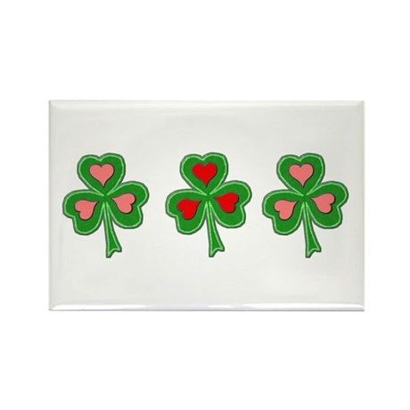 Shamrocks (Pink and Red Hearts) Rectangle Magnet