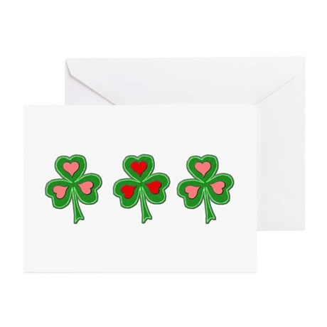 Shamrocks (Pink and Red Hearts) Greeting Cards (Pa