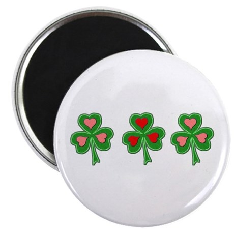 "Shamrocks (Pink and Red Hearts) 2.25"" Magnet (10 p"