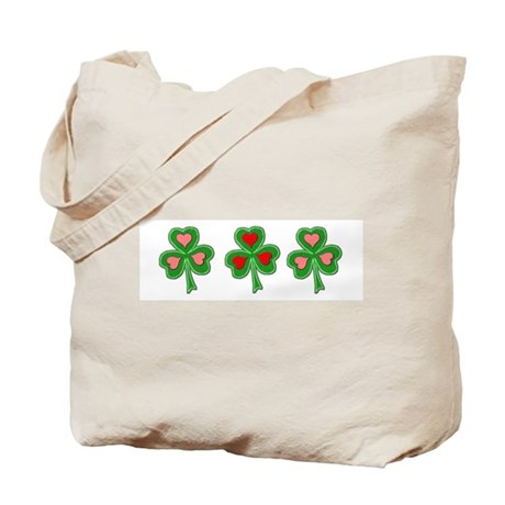 Shamrocks (Pink and Red Hearts) Tote Bag