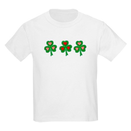 Shamrocks (Pink and Red Hearts) Kids T-Shirt
