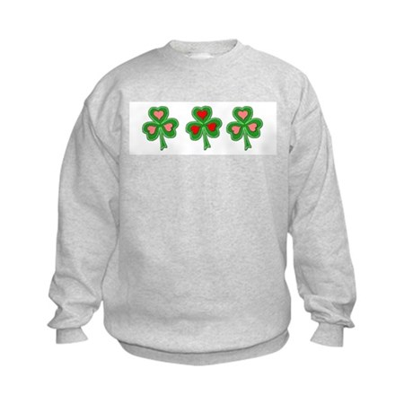 Shamrocks (Pink and Red Hearts) Kids Sweatshirt
