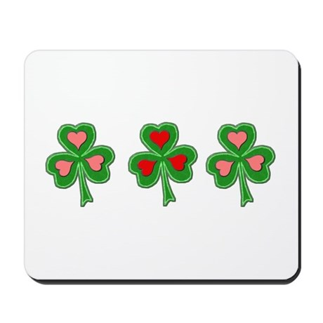 Shamrocks (Pink and Red Hearts) Mousepad