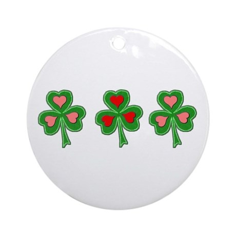 Shamrocks (Pink and Red Hearts) Ornament (Round)
