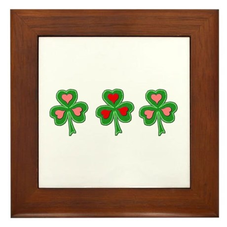 Shamrocks (Pink and Red Hearts) Framed Tile