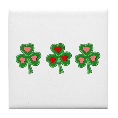 Shamrocks (Pink and Red Hearts) Tile Coaster