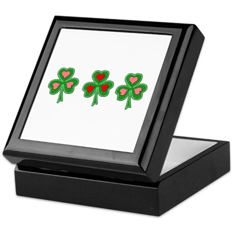 Shamrocks (Pink and Red Hearts) Keepsake Box