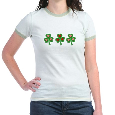 Shamrocks (Pink and Red Hearts) Jr. Ringer T-Shirt