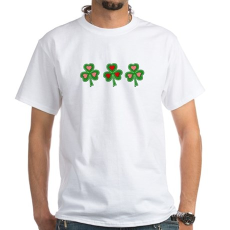 Shamrocks (Pink and Red Hearts) White T-Shirt