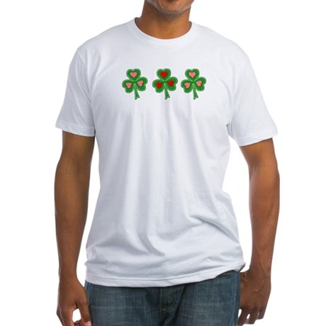 Shamrocks (Pink and Red Hearts) Fitted T-Shirt