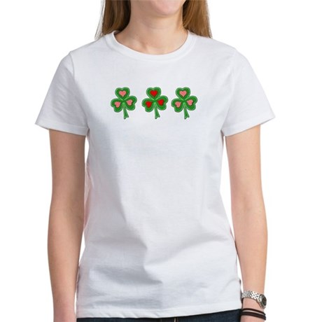 Shamrocks (Pink and Red Hearts) Women's T-Shirt