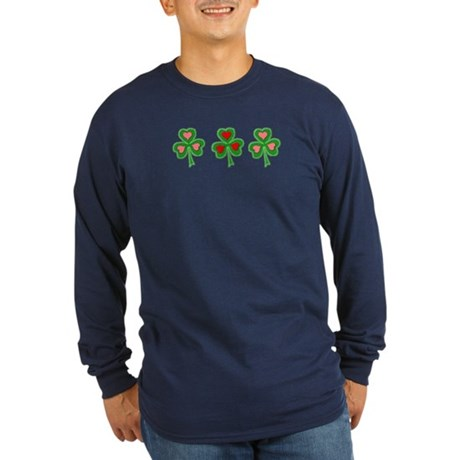 Shamrocks (Pink and Red Hearts) Long Sleeve Dark T