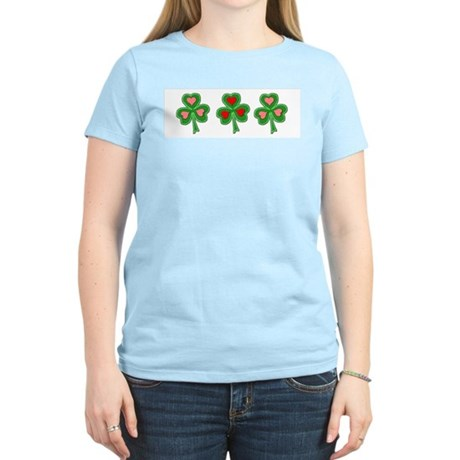 Shamrocks (Pink and Red Hearts) Women's Pink T-Shi