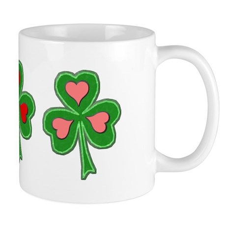 Shamrocks (Pink and Red Hearts) Mug