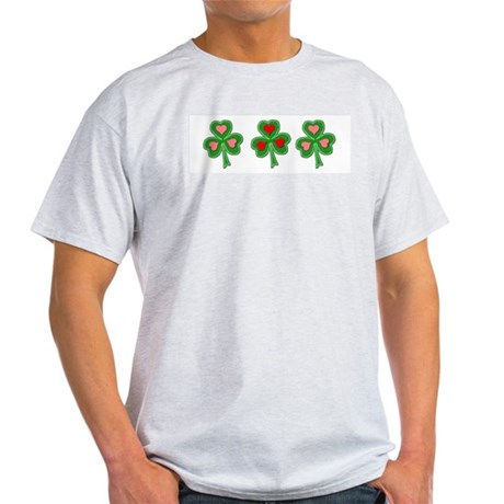 Shamrocks (Pink and Red Hearts) Ash Grey T-Shirt