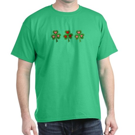 Shamrocks (Pink and Red Hearts) Green T-Shirt