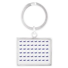 Airplane Pattern blue on White Landscape Keychain