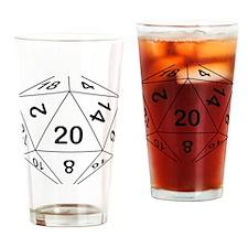 d20_black Drinking Glass
