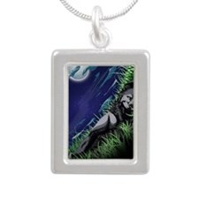Moonlight Silver Portrait Necklace