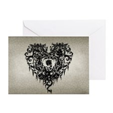 ornate-gothic-heart_bl_10x18h Greeting Card