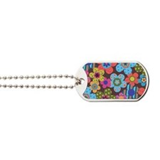 Retro Flowers Bags Dog Tags