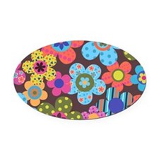 Retro Flowers Bags Oval Car Magnet